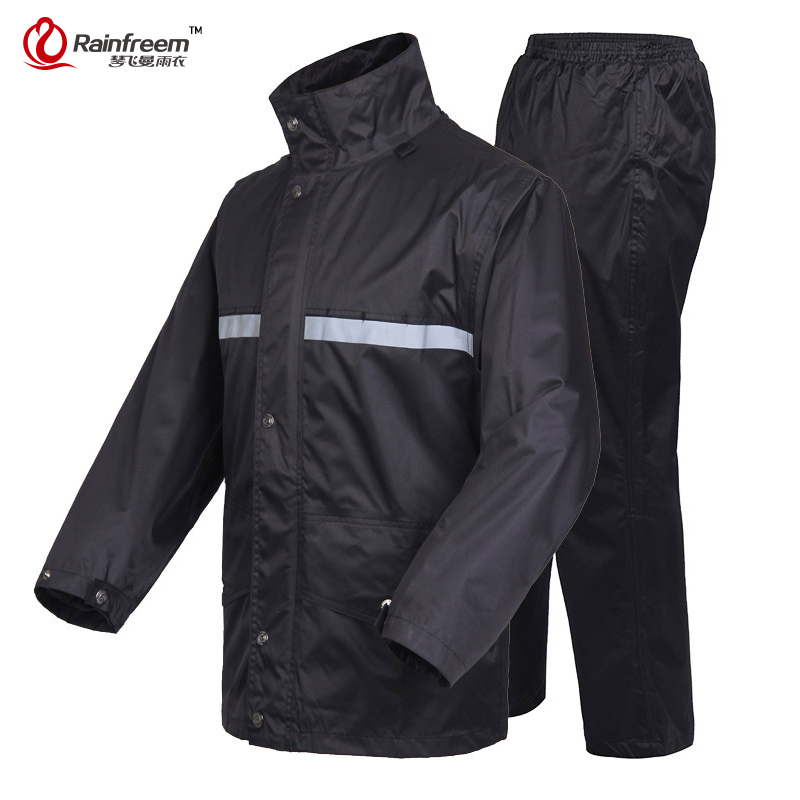 Rainfreem Brand Impermeable Raincoat Women/Men Jacket Pants Set Adult Rain Poncho Thick Police Rain Gear Motorcycle Rainsuit