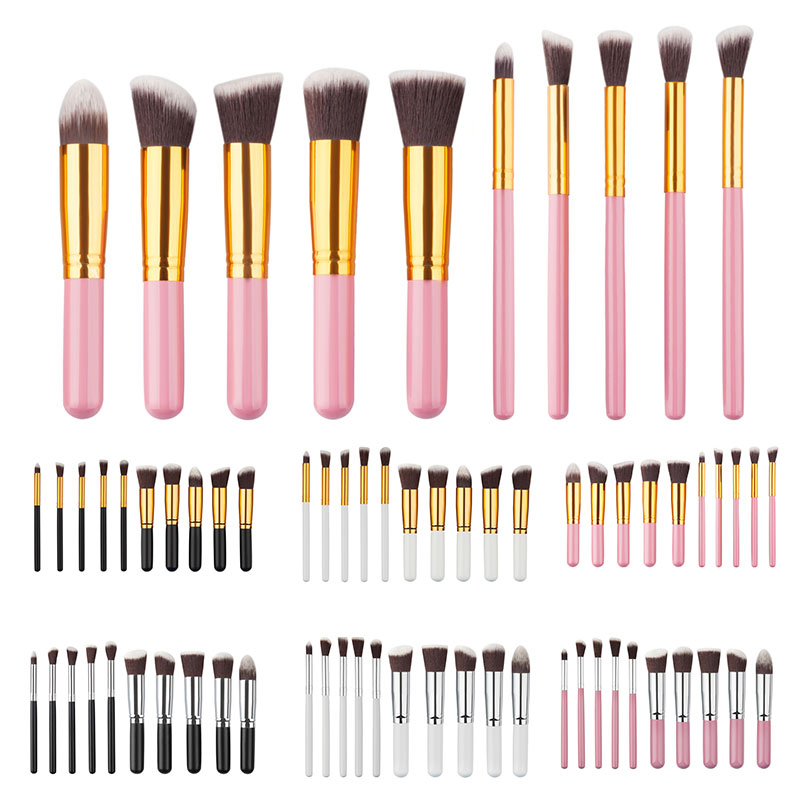 10Pcs Mini Cosmetic Makeup Tool Brushes Set Powder Eyeshadow Blush Brush Cosmetics Kit 6 Colors