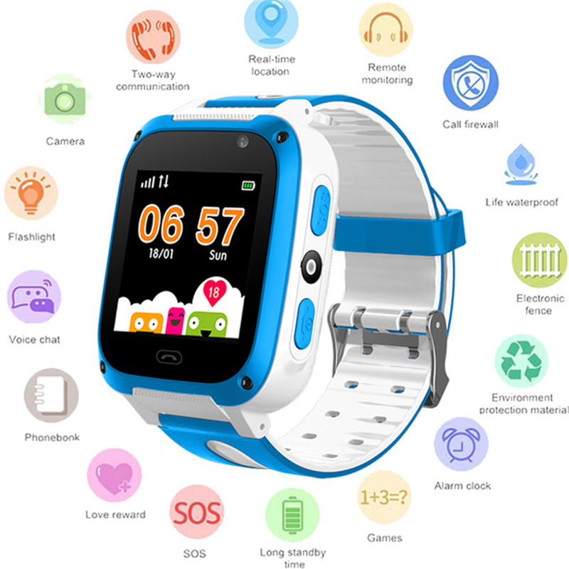 BANGWEI 2018Children Smartwatch Color Touch Screen Digital Kid Smart Watch SOS Emergency Call Phone Call LBS Positioning Tracker