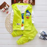 Roupas infantis menino nova menina 2019 roupas ternos dos desenhos animados pato donald bebê crianças outerwear jaqueta com capuz conjuntos de roupas esportivas