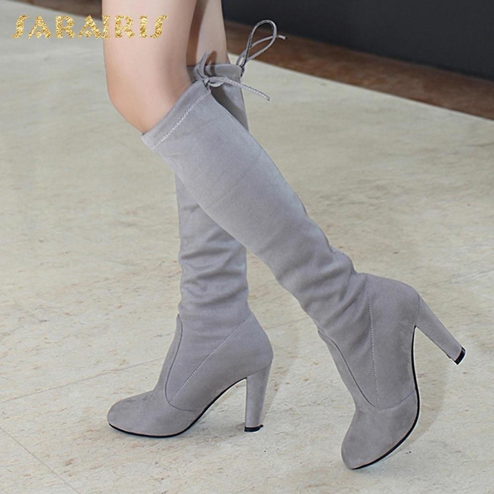 6216879e2a3ce Plus Chaussures Femme 43 Suede Slip Black Femmes Haute Bottes 2018 Rouge Talons  Taille Sur Genou Automne gris 34 ...