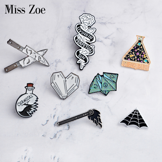 Dagger face Origami game Cobweb science Beaker rose coffin heart matches Enamel Pins Badge Denim coat Jewelry Gifts Brooches