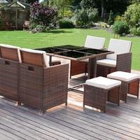 Homall 9 шт. патио мебель обеденный набор Патио Плетеная стол ратанговый и стулья набор открытый мебель с подушками закаленное стекло