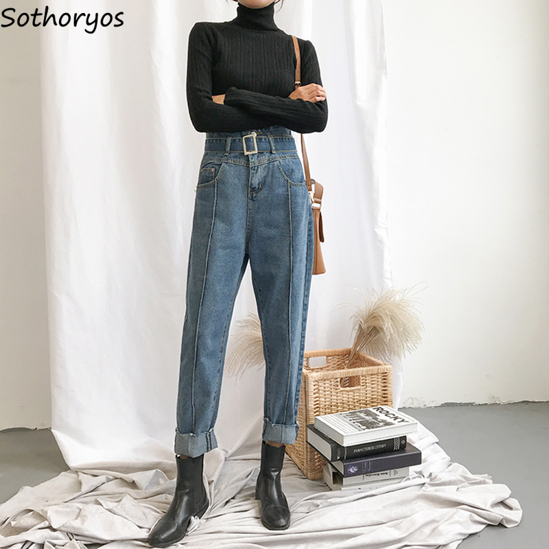Jeans   Women High Quality Retro Harem Leisure Korean Style Sashes Pockets All-match Womens Harajuku Streetwear Soft Students Chic