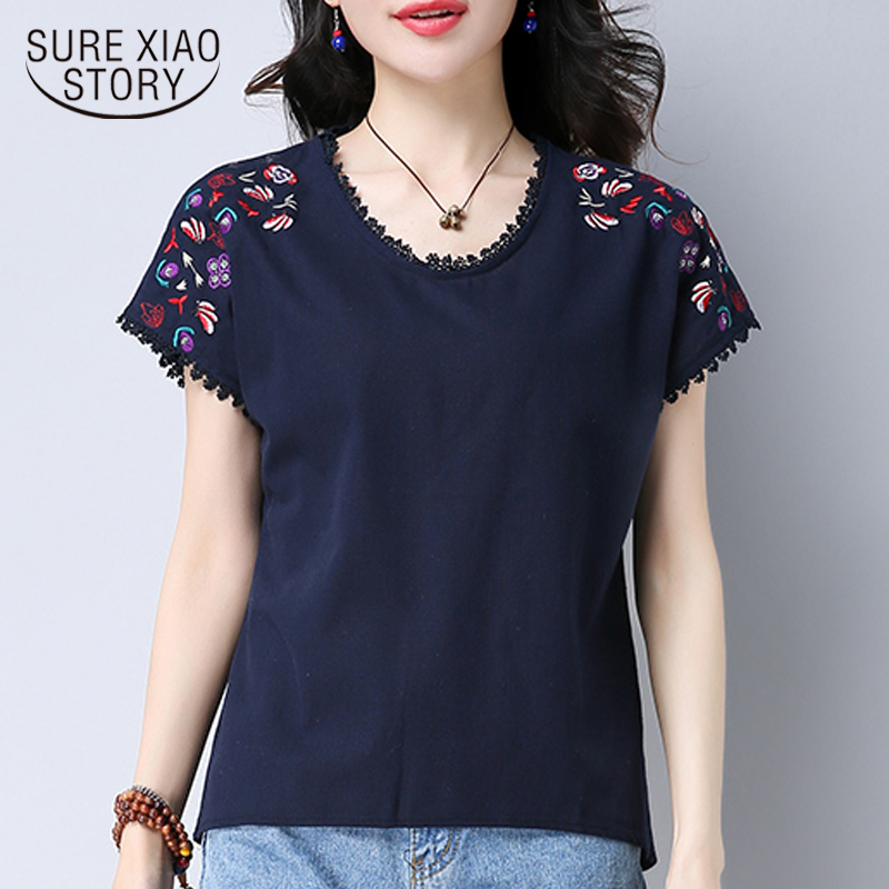 summer women 2018 new blouses shirts fashion casual o-neck female ladies tops floral embroidery solid women clothing 0284 40