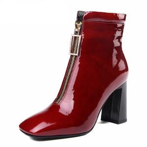 Image 2 - FEDONAS 브랜드 암소 가죽 발목 부츠 여성용 하이힐 지퍼 짧은 숙녀 신발 여성 스퀘어 발가락 파티 웨딩 펌프
