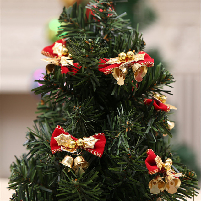 10pcs christmas bow with bells christmas decorations christmas bells christmas tree decoration xmas for home new