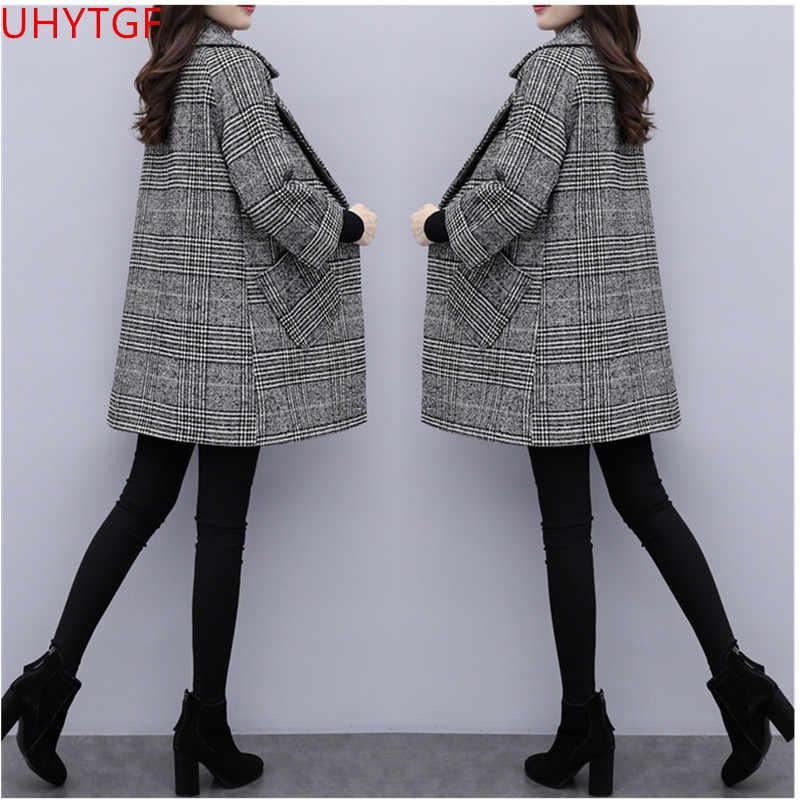 Large size coat female Autumn winter clothing New lattice Woolen coat Long sleeve  Female Cashmere coat elegant women coats 804