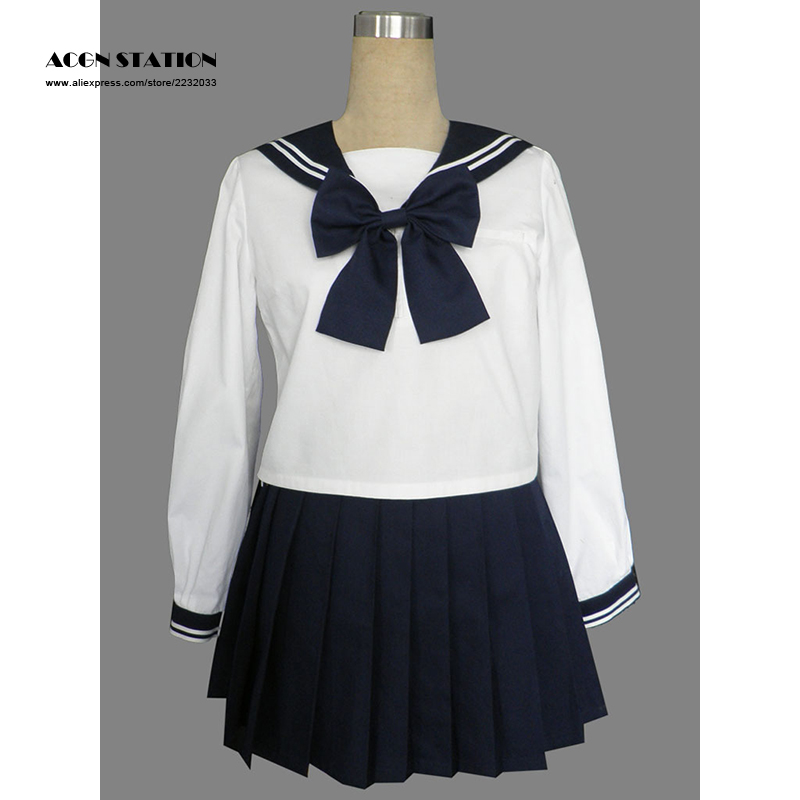 2018 Customize for plus size Free Shipping Royal Blue Cute Long Sleeves Girl School Sailor Uniform Halloween Cosplay Costume