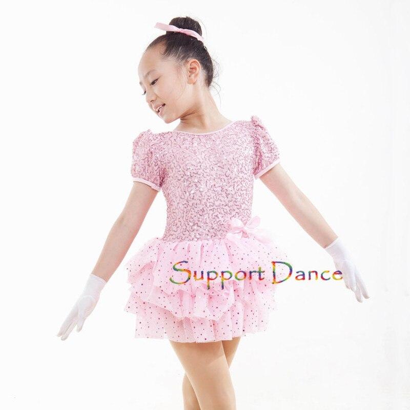Pink Sequins Dot Latin Dress Children Adult Short Sleeve Bow Dance Costume C18
