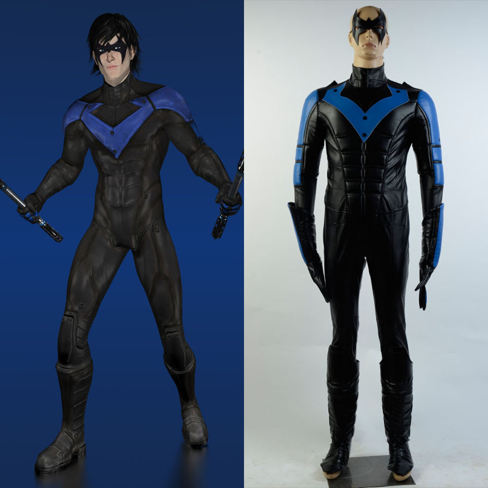 Batman: Arkham City Nightwing Richard John Dick Grayson Cosplay Costume Halloween Party For Boy Male Suit Full Set