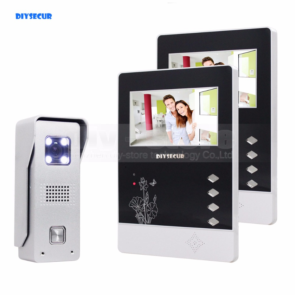DIYSECUR 4.3 inch TFT Color LCD Display Aluminum Alloy Camera Video Door Phone Intercom Doorbell LED Color Night Vision 7 inch video doorbell tft lcd hd screen wired video doorphone for villa one monitor with one metal outdoor unit night vision
