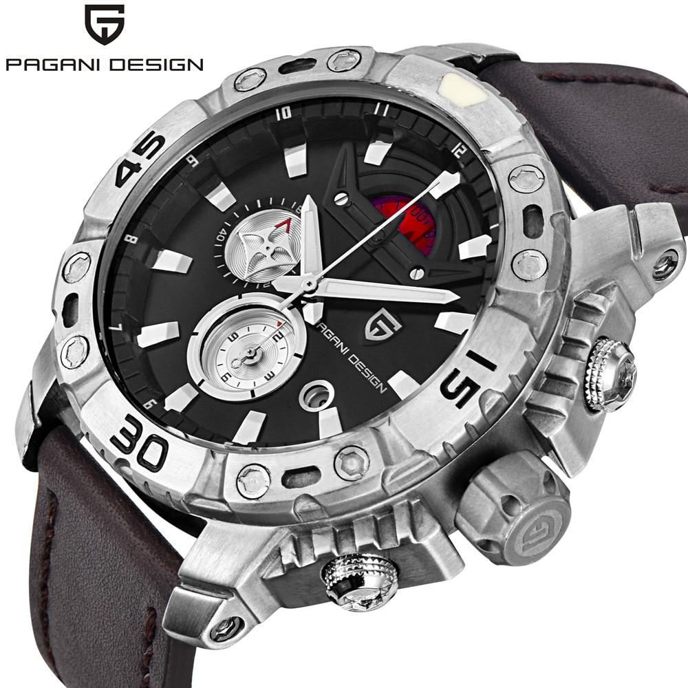 ФОТО PAGANI DESIGN Sport Watches Men's Luxury Brand Chronograph Watch Male Waterproof Quartz Military Leather Wrist Watch Men Clock