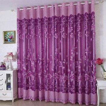 nieuwe bladeren pure gordijn venster behandeling voile drape valance 1 panel stof thuis decoratieve gordijnen cortinas dormitorio sa80