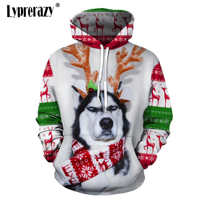 Lyprerazy Funny Hoody Cute Elk Unisex Hoodies Christmas Husky Lucky Dog Sweatshirts Men Cosplay Tops Holiday Outfit