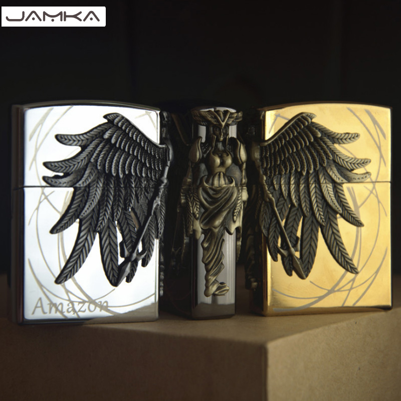 16 Style Art Relief Available Retro Metal Carving Lighters Grinder Fire Cigarette Lighter Inflatable Gas Butane Smoker Best Gift