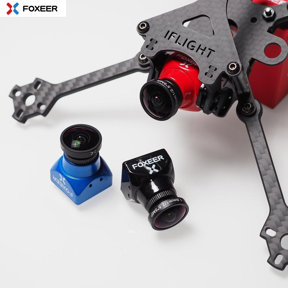 Foxeer Arrow Mini Pro 2.5mm 650TVL 4:3 WDR FPV Camera Built-in OSD With Bracket NTSC/PAL Black/Red - Black PAL 2.5mm