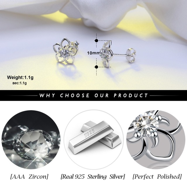 925 Sterling Silver Female Stud Earrings  3