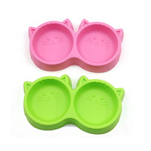 Pet Products Plastic Cat Face Pet Bowl Environmental Protection Non-toxic Dog Food Double Bowl Tableware Pet FeedingTool(China)