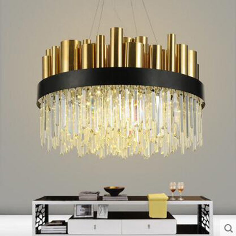 Post-modern chandelier living room stainless steel bronze simple atmosphere art Nordic lantern villa restaurant crystal lamp led crystal chandelier lamp can be customized stainless steel restaurant