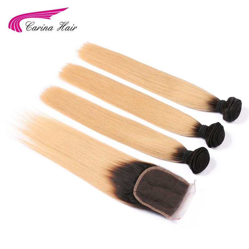 Carina Indian Remy Human Hair Ombre Hair 3 Bundles With 4x4 Lace Closure 1b27 Honey Blond Color Straight Hair Wefts With Closure