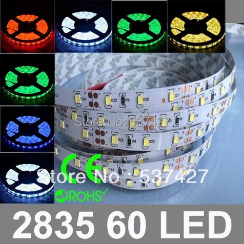 IP68 Waterproof DC12V/24V input 12W 60 LED/Meter LED Strip Light High brightness Epistar Chip 2835 SMD, 5 Meter/Bag
