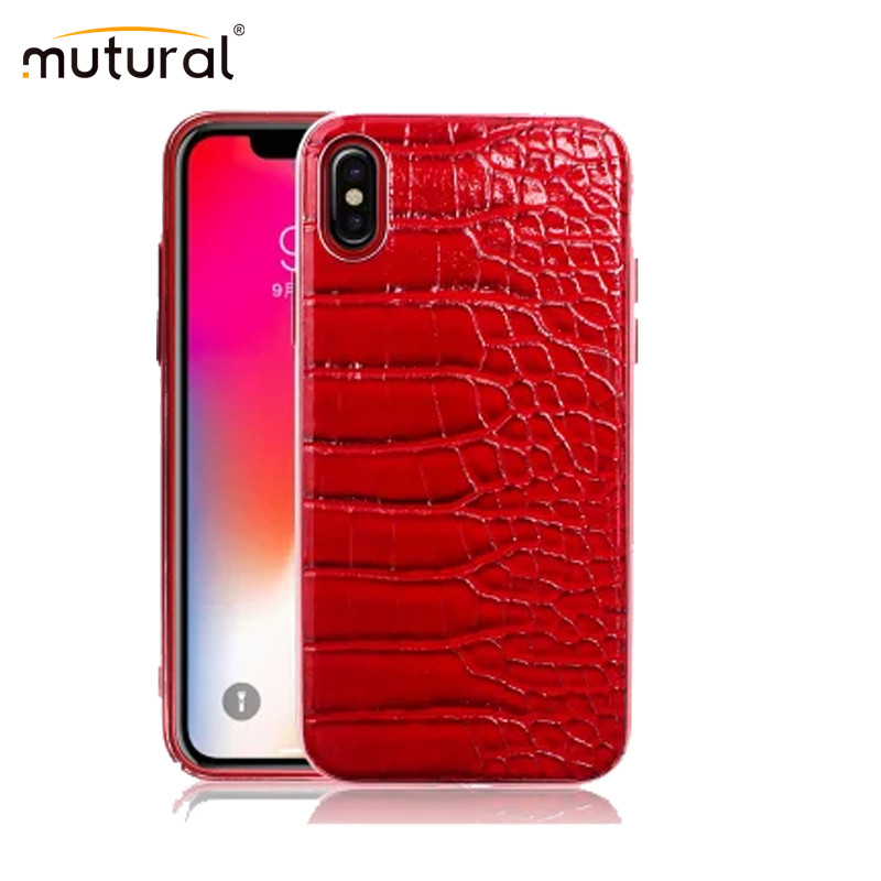 Mutural Genuine Leather Back Case For iPhone 7 8 Plus X Cover Luxury Alligator Print Phone
