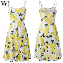 Womail dress woman NEW Summer Lemon Print Patchwork Sleeveless fashion Elegant party Daily vocation Casual 2019 A12