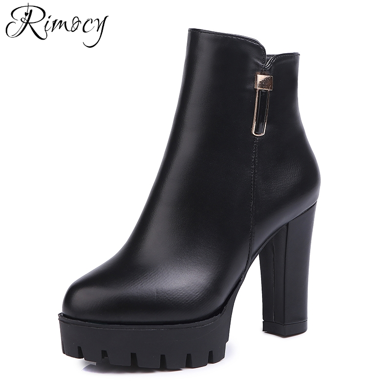 Rimocy super high heels ankle boots women spring 2018 warm fleece chunky heeled platform pu leather short boots woman booties tama hp910 7s super spring only
