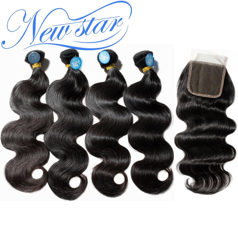 Brazilian Body Wave NEW STAR Virgin Human Hair Weaving 4 Bundles With Lace Closure 1 Donor