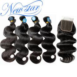 Бразильские волнистые натуральные волосы 4 пучка с закрытием кружева 1 донор нетронутые кутикулы плетение волос и закрытия