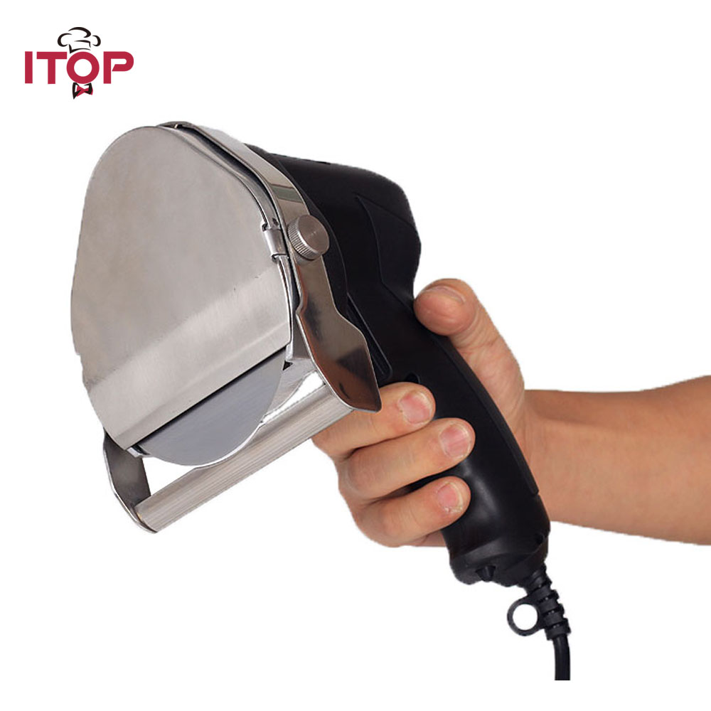ITOP electric doner kebab slicer, kebab shawarma knife, meat cleaver kitchen Knife EU/US/UK Plug itop automatic doner kebab slicer for shawarma kebab knife gyros knife gyro cutter two blades 220v 110v 240v