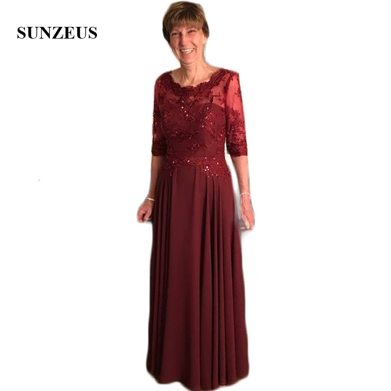 Scoop A-Line Burgundy Chiffon Mother of the Bride Dress Lace Appliques Sequins Womens Party Dresses Dark Red feestjurken SMD12