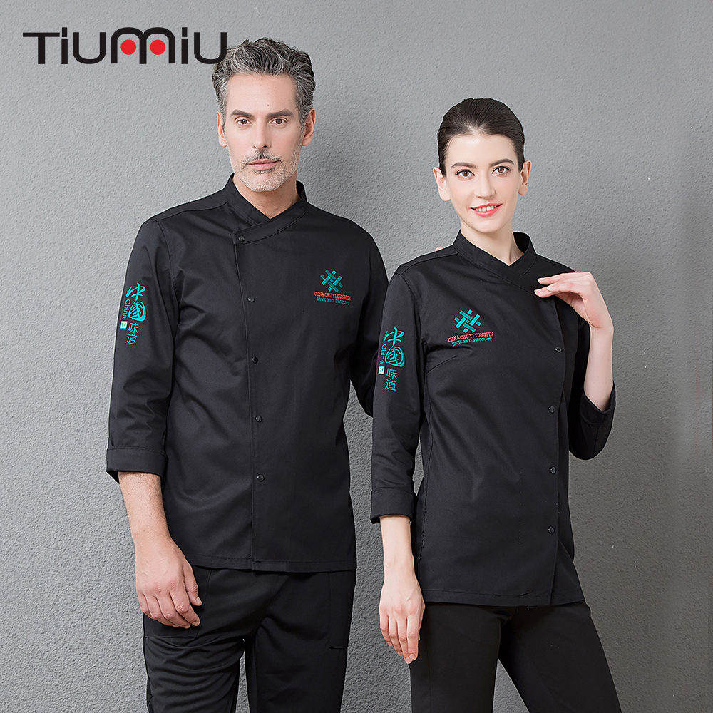 Oblique Collar Kitchen Chef Uniform Workwear Top Restaurant Food Service Catering Cooking Coat Cuisine Cozinha Clothing Overalls
