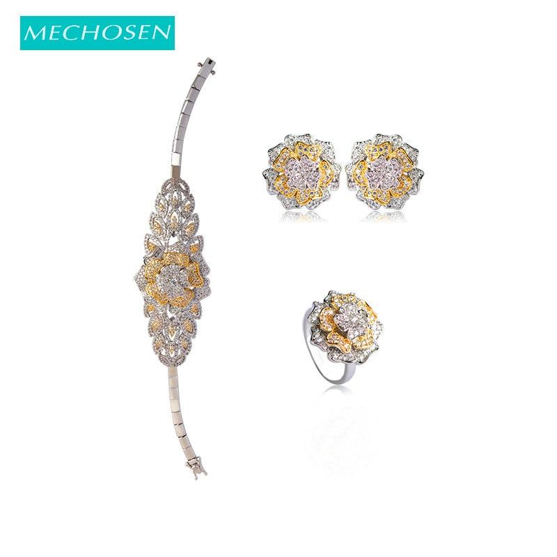 MECHOSEN Elegant Flower Bracelet Earrings Rings Set 3 Tones Full Zircon Wedding Big Jewelry Sets For Women Girls Brinco Anillos