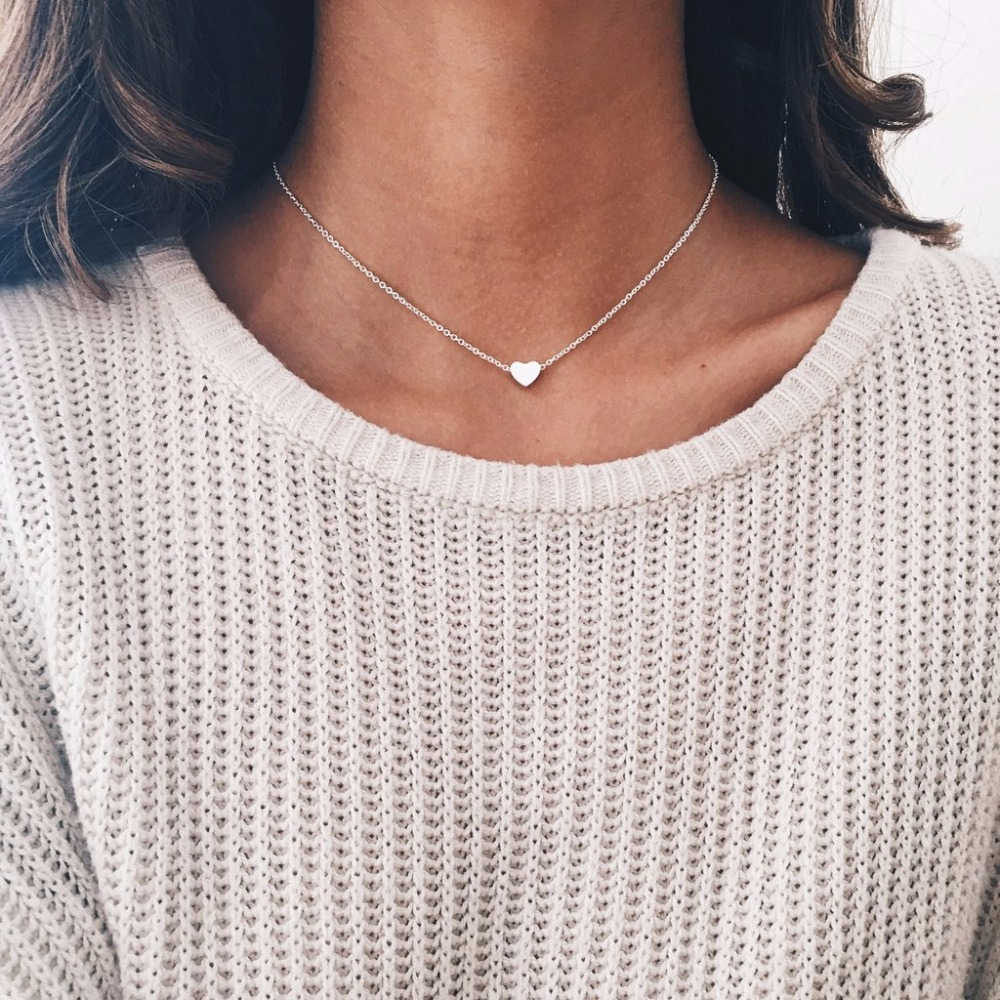 Simple Gold Silver Heart Choker Necklace Tiny Small Heart Chocker Necklace Pendant On Neck Women Jewelry new year Gift