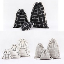 1pcs Men Plaids Pattern Drawstring Cotton Linen Travel Shaver Sunglass Storage Bag Underwear Organizer Coins keys