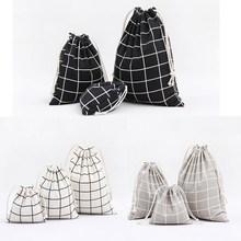 1pcs Men Plaids Pattern Drawstring Cotton Linen Travel Shaver Sunglass Storage Bag Underwear Organizer Coins keys