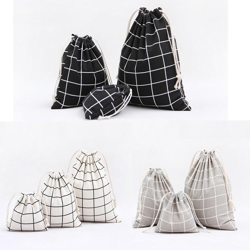 1pcs font b Men b font Plaids Pattern Drawstring Cotton Linen Travel font b Shaver b