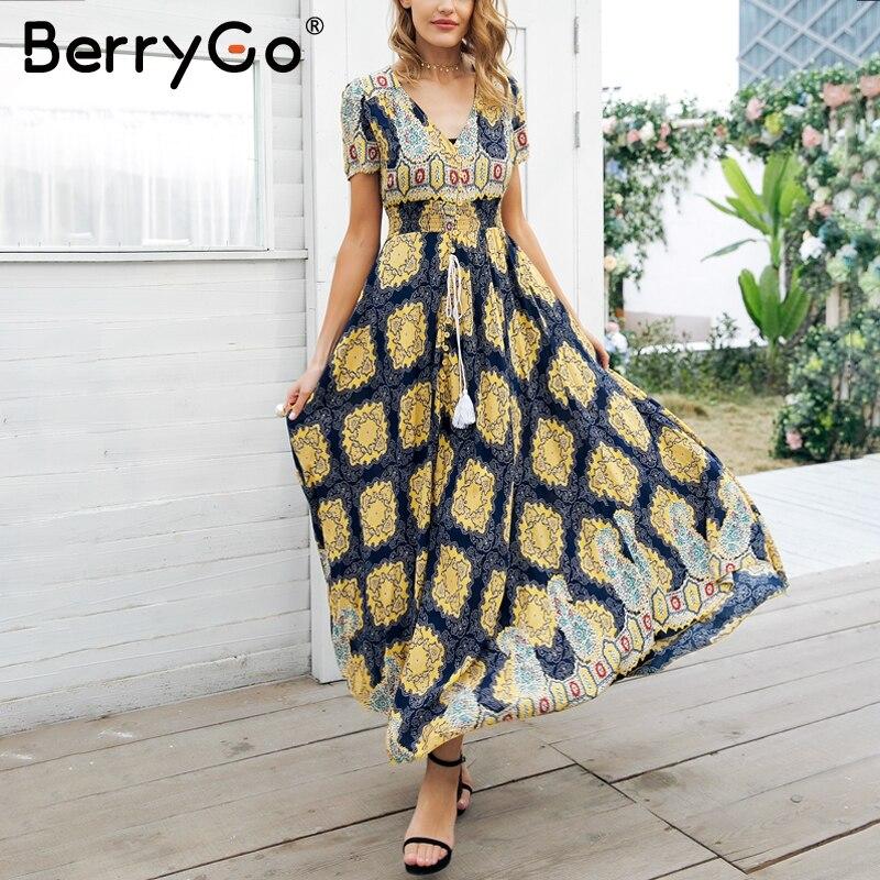 BerryGo Boho stampa maxi vestito da estate delle donne Pulsante nappa floreale vestito lungo femminile 2018 Spiaggia a vita alta vestito casuale vestidos