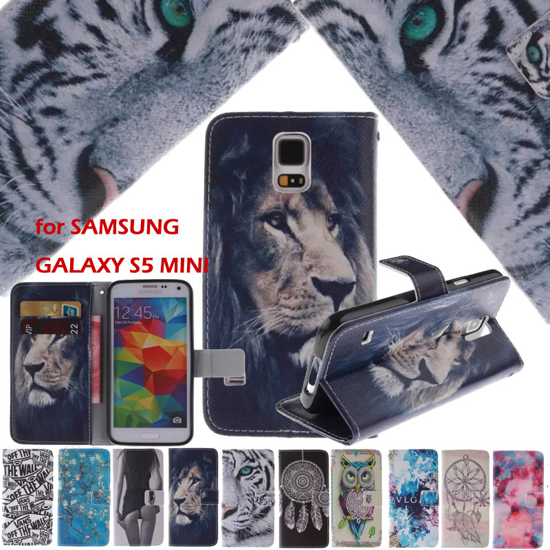 Luxury Leather Flip Case sFor Samsung Galaxy S5 Mini G800 g800f g800h Wallet Card Slot Cover Capa Funda Coque for Galaxy S5 Mini
