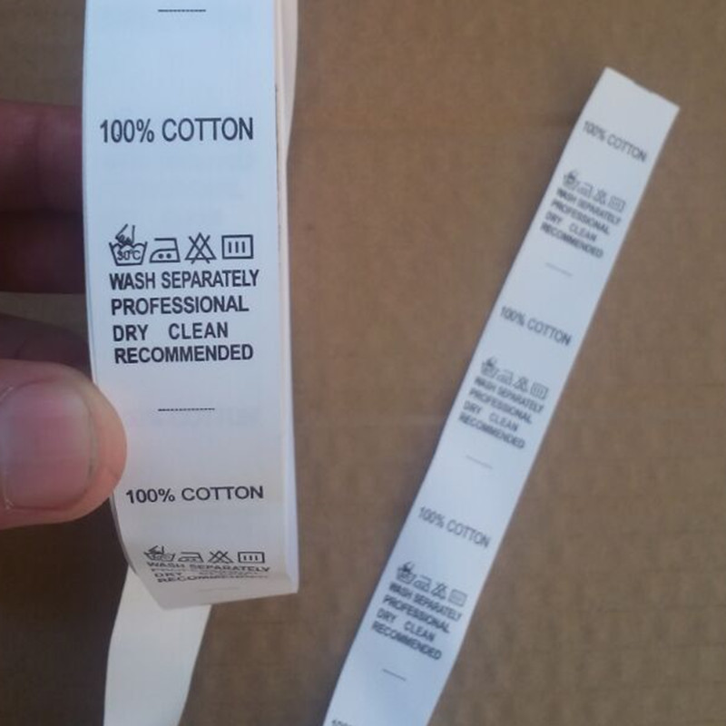 1000pcs White Washing Instructions Print Tags For Clothing Nylon Coated Tape Care Label 2.2 * 5 Cm