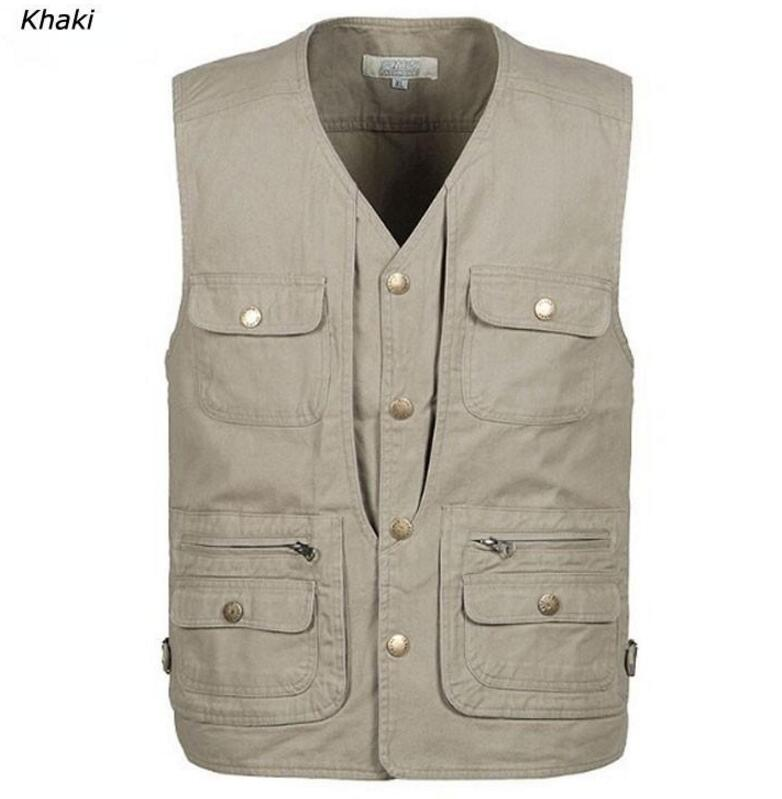 Men's Summer Multi-Pocket Vest Outdoor Camping Hiking Vest Director Reporter Photography Sleeveless Jacket Plus Size 5XL
