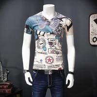Creative personality printing fashion retro luxury short sleeve t shirt Summer 2018 quality mercerized cotton t shirt men M 4XL
