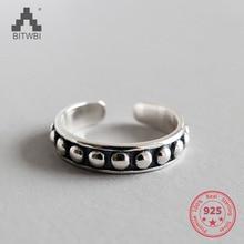 Handmade Round Bead Women Ring Vintage Thai Silver Open Finger Ring Silver 925 Jewelry Fine Geometric Joint Ring kjjeaxcmy fine jewelry 925 thai silver garnet thai onyx ginkgo biloba open ring ring