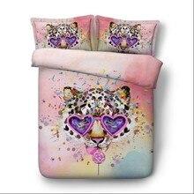 Leopard Bedding set Luxury Animal print bedspread duvet cover bed sheet sheets linen California King Queen size full twin 4pcs