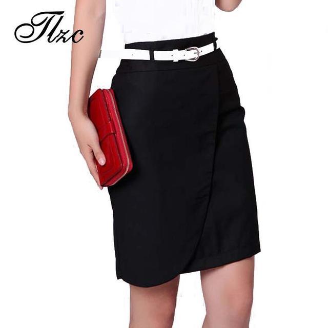 Corea Señora de la Oficina Moda Faldas Lápiz Más El Tamaño S-4XL Negro y Gris Ropa de Color 2017 Nuevas Mujeres de Carrera de La Falda Formal de