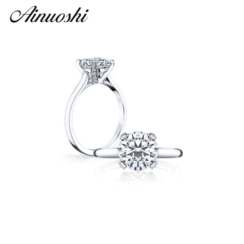 AINOUSHI Round Cut Solitaire Ring Women Engagement Rings Real Solid 925 Sterling Silver Wedding RingAINOUSHI Round Cut Solitaire Ring Women Engagement Rings Real Solid 925 Sterling Silver Wedding Ring