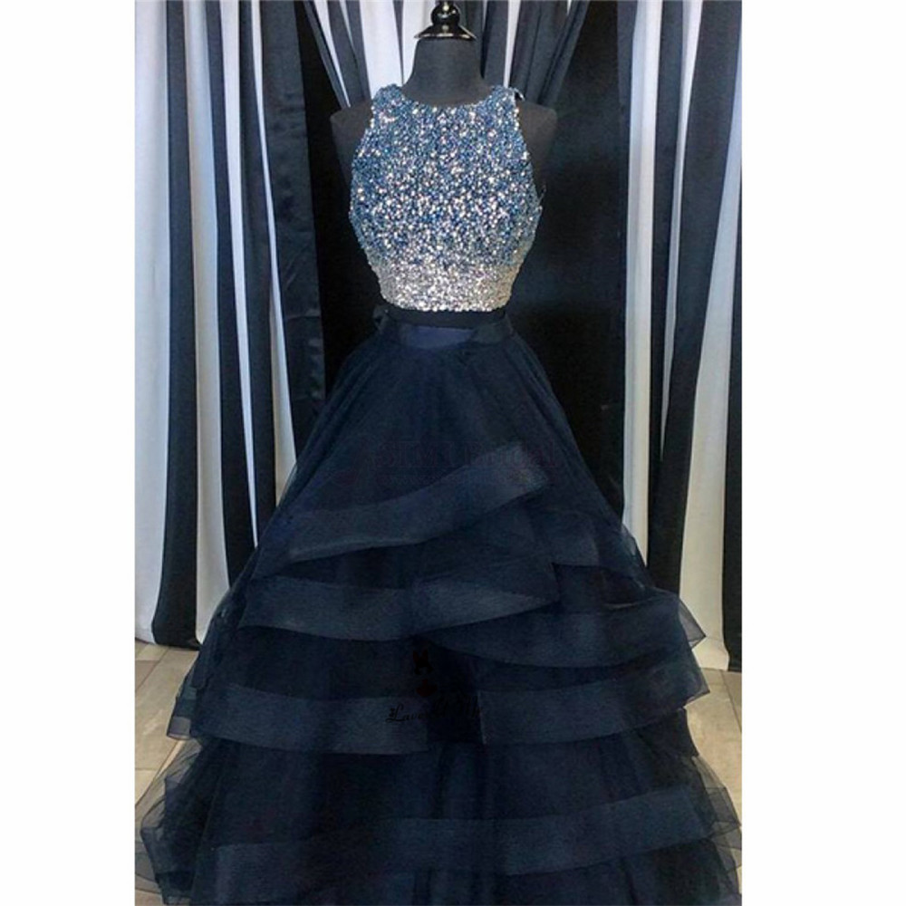 Real Picture Navy Blue Luxury 2 Piece Prom Dresses 2018