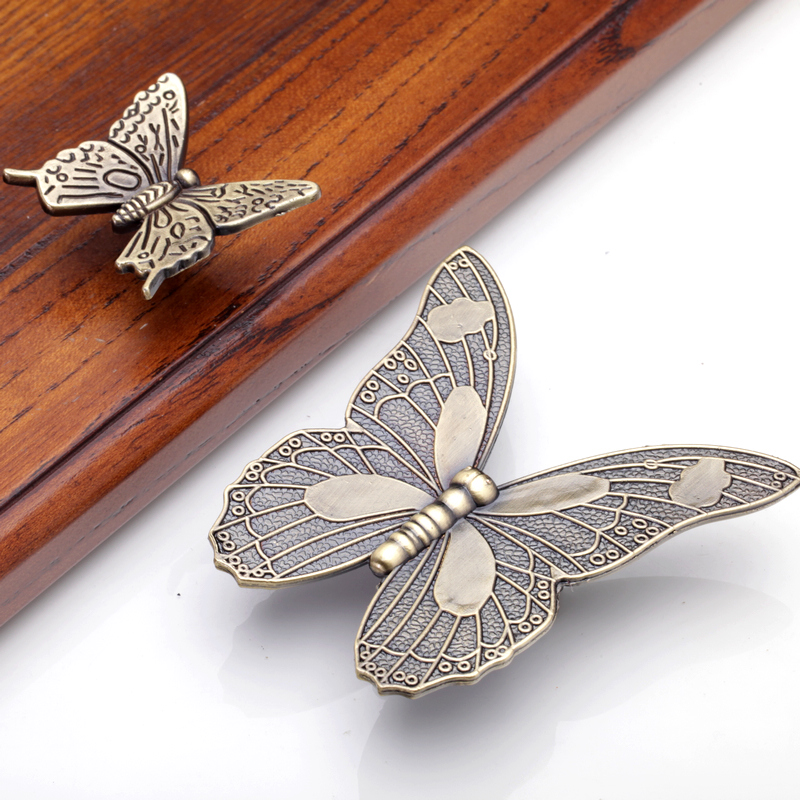 Antique Bronze Butterfly Kitchen Cabinet Door Knob Cupboard Wardrobe ...
